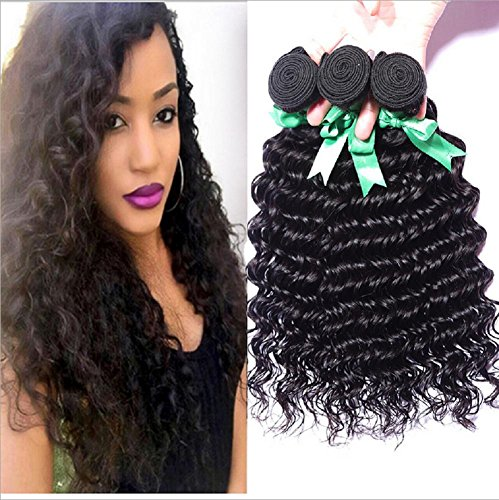 Meylee Postiches 100 % cheveux humains vague profonde 3 faisceaux tissage/Extensions de cheveux humains totalement 300g/Pack , 8 10 12
