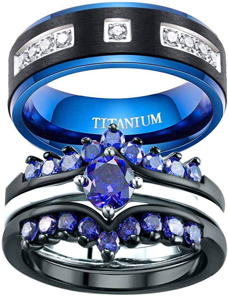 Cheap SALE Start ringheart 2 Black Rings His and Couple Cz Hers Ring discount 3 Blue