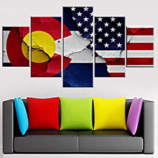 American Colorado States Flags Paintings for Living Room Stars Stripes Pictures Patriotism Artwork 5 Piece Canvas Wall Art Modern Home Decor Framed Gallery-Wrapped Ready to Hang(50''Wx24''H)