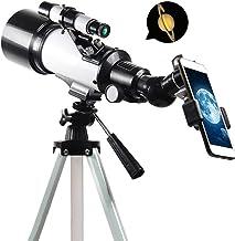 GJNVBDZSF Telescópio profissional refrator de astronomia com tripé ajustável e adaptador de telefone, telescópio portátil ...