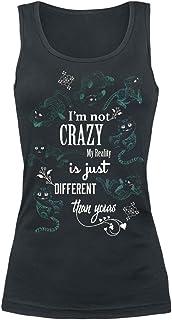 Alicia en el País de Las Maravillas Gato Chesire - I'm Not Crazy Mujer Top Negro, Regular