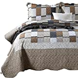ENJOHOS 3PC Queen Quilt Sets with Shams Navy and Brown Blocks Patchwork Quilt Lightweight Reversible Bed Coverlet All Season Bedspread for Queen Bed Patch Plaid Daybed Bedding(Multi Patch