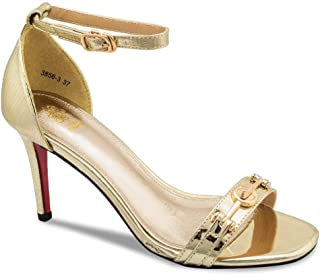 tresmode Gold Textured Dress Sandal with Stiletto Heel