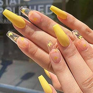 Handcess Bara Ballerina Stampa sulle unghie Lungo giallo lucido Unghia finta Farfalla Arte acrilica Copertura completa Ung...