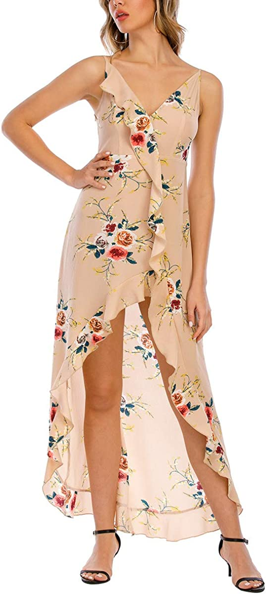 COCAOA Women's V-Neck Floral Maxi Dress Summer Spaghetti Inexpensive Strap All items in the store C