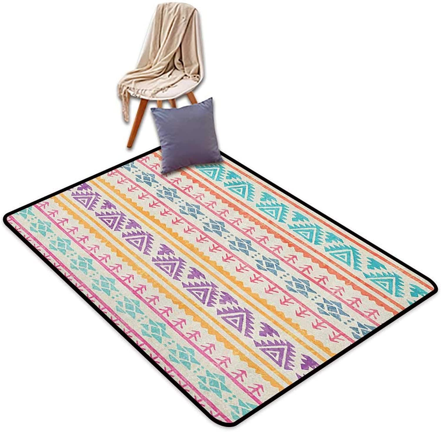 Interior Door Rug Bathroom Rug Slip orange and Pink Hand Drawn Ethnic Design with Timeless Tribal Triangle and Arrow Motifs Inner Door Rug W5'xL7'