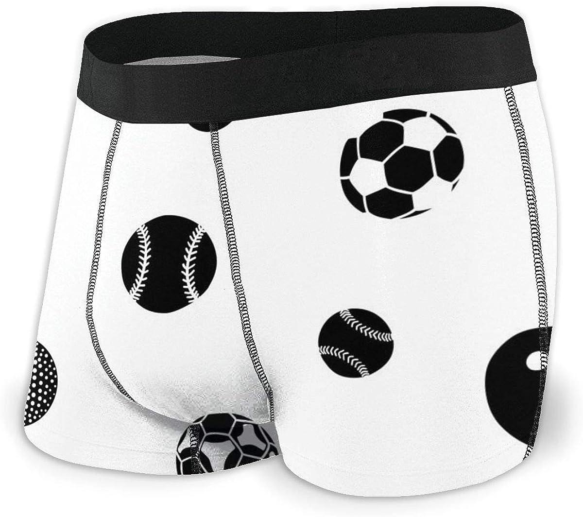 Mens Boxer Briefs Sports Balls American Football Boys Trunks Underwear Short Leg Breathable Man