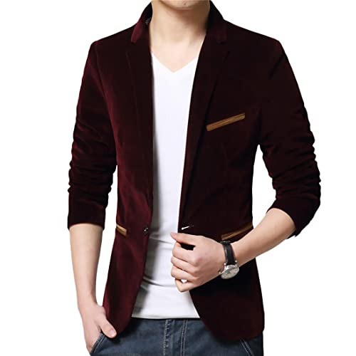 New Men/'s Casual Slim  Corduroy Jackets One Button Velvet Suit Blazer tops Coat