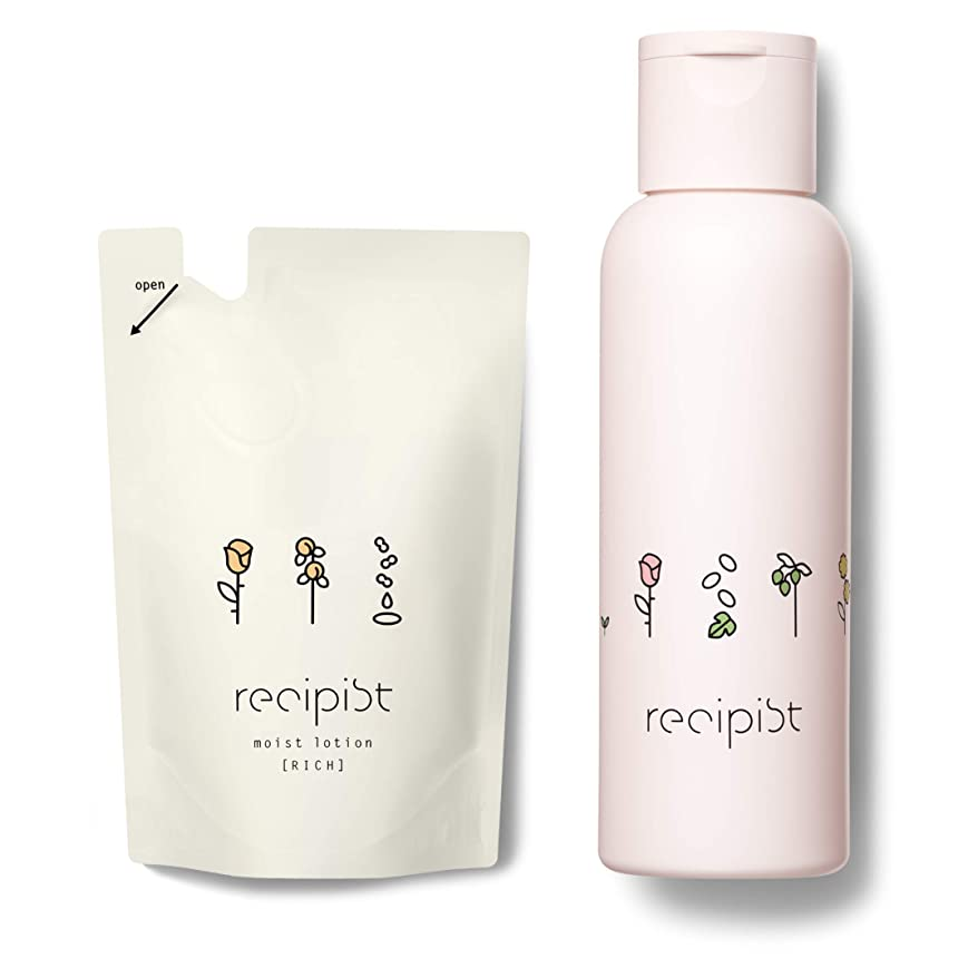 ビザステンレスロッジレシピスト しっかりうるおう化粧水 リッチ (しっとり) 詰め替え用 180mL + 選べるボトル (ピンク) 自然由来成分