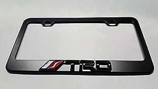 Usudu for TRD Logo Emblem Stainless Steel License Plate Frame Rust Free W/Bolt Caps for Tacoma 4Runner Tundra (Black+Black Logo)