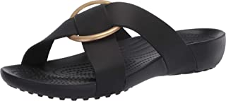 Crocs Women's Serena Cross Band Slide Casual Lightweight Sandal, Black, 9 M US