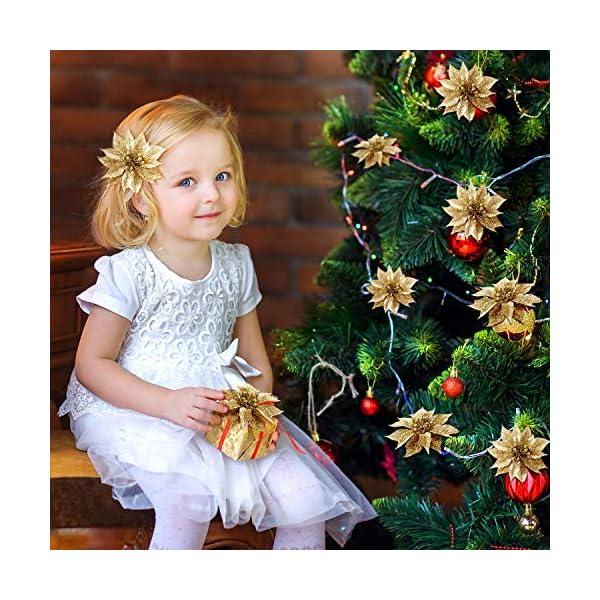 Willbond – Flores de Pascua artificiales con purpurina para decoración del árbol de Navidad, 36 piezas