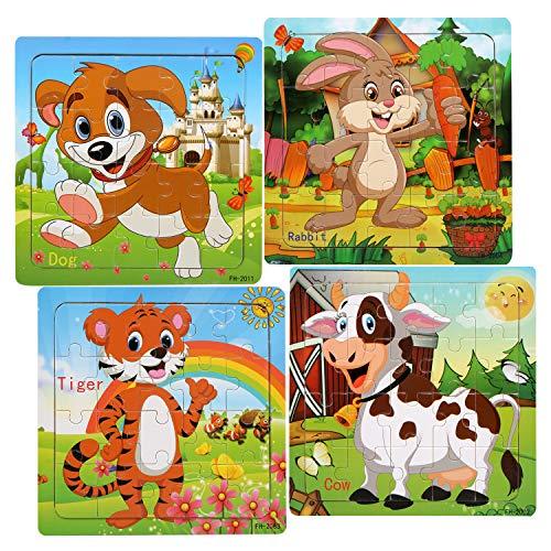 LEADSTAR Juguetes Niños 2 3 4 5 Años, Tangram Madera, Rompecabezas de Madera, Juguetes Montessori Infantiles Madera Puzzle 20 Piezas, Educación y Aprendizaje Rompecabezas Juguetes,Animale del