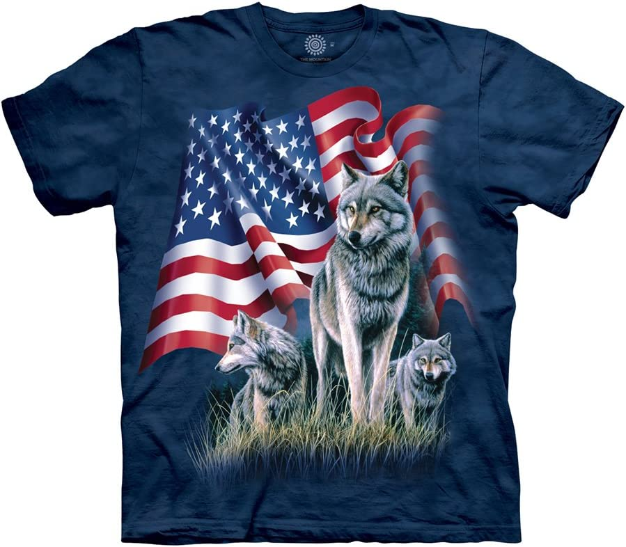 Max 72% OFF The Mountain Men's Wolf Max 83% OFF Short Tee Flag Sleeve