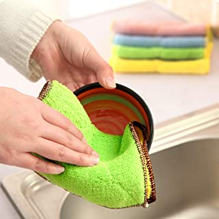 5 PCS Bamboo Fiber Washing Dish Towel Kitchen Cleaning Cloth Double-Sided Scouring Cloth Water Absorption Non-Stick Oil,Ca...