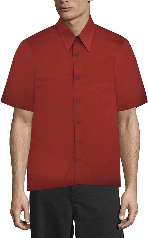 Men's Regular Fit - Short Sleeve Dress Shirt Red