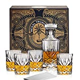 Classic Crystal 5 Piece Whiskey Decanter Set in a Spectacular Gift Box - Regal Trunk - Lead Free Crystal Glass Whiskey Decanter with 4 Whiskey Glasses | Bourbon Scotch Liquor Dispenser - Diamond Cut