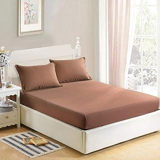 YFGY Drap-Housse Simple pour lit Simple,Couleur Unie de Couverture de Matelas de Drap-Housse, draps de lit avec Le Roi d'o...