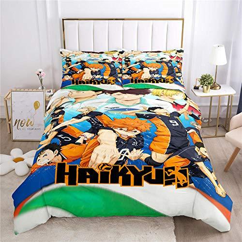 Anime Ha-ik-yu-u Duvet Cover Twin Pastel Brushed Microfiber Print Bedding Sets for Boys Fluffy Tie Dye Comforter Set with 2 Pillow Shams Zipper Closure Kids Quilt Cover