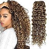 Hetto Extensiones de cabello con clip de 40,6 cm, extensiones de cabello humano para cabello fino, onda natural, 100 unidades de cabello real, 4P27 marrón y rubio, 7 piezas, 100 g