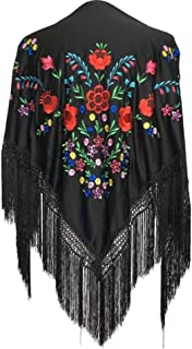 Spanish Flamenco Dance Shawl Black with various colored flowers Large