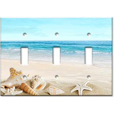 Art Plates 3 Gang Toggle Oversized Switch Plate Over Size Wall Plate Seashells On The Beach