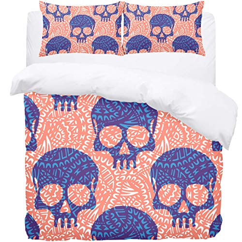 TIZORAX Double Bedding Duvet Cover Set -Skulls on Ethnic Pattern 3 Piece Microfiber Comforter Set Quilt Cover and 2 Pillow Shams for Men Women