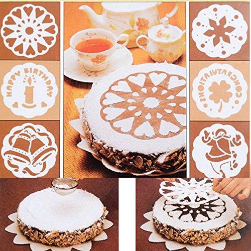 Bazaar 6Pcs/set Tiramisu Spray Print Sugar Sieve Baking Cake Mold