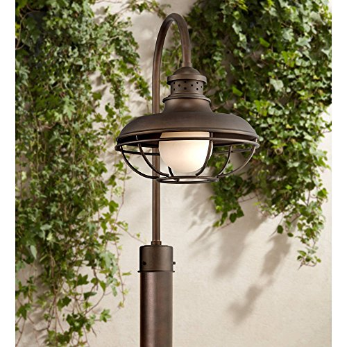 Franklin Park Farmhouse Rustic Outdoor Post Light Oil Rubbed Bronze Open Cage 23 1/2