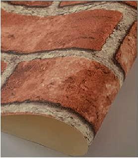 AdorabPaper 3D Stereo Antique Brick Wallpaper Retro Barbershop Clothing Shop Restaurant Restaurant Wallpaper red,53X1000CM(20.8in X 393.7in)