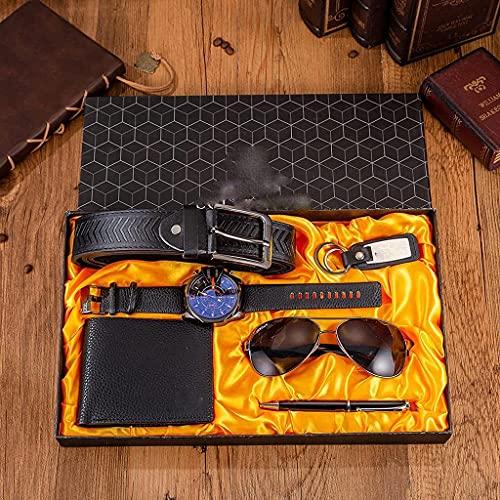 Sgxiyue 6 Teile/Satz Herrengeschenkset großes Zifferblatt-Quarz-Uhr-Gläser Ledergürtel Brieftasche Keychain-Stift Boutique-Geschenk-Set-Box für Männer (Color : Blue)