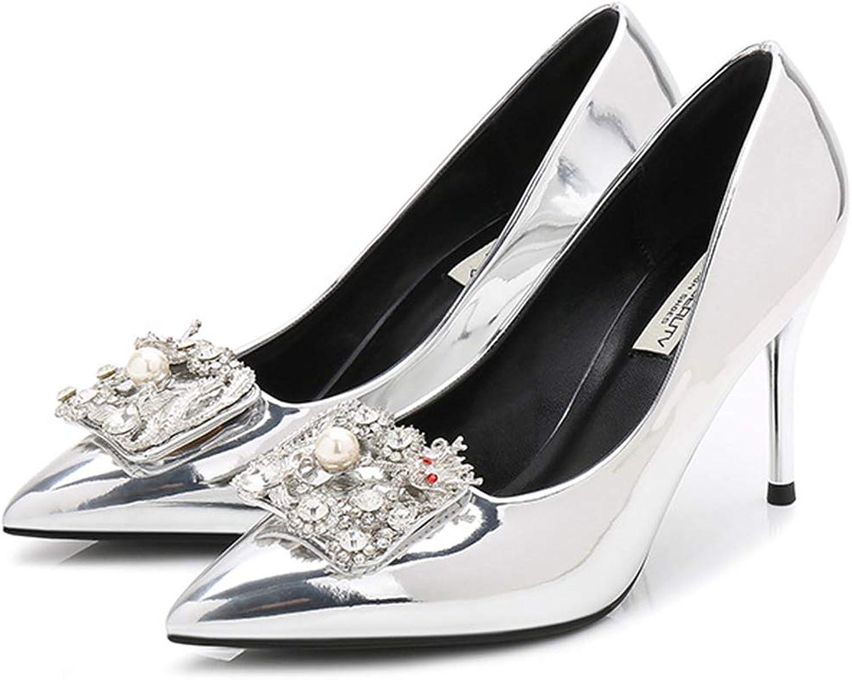 Schuhe Heels Stiletto Schuhe Gericht Spitze Silber Damen Yra