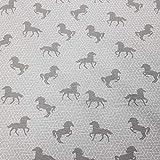 Stoff Meterware Baumwolle grau Pferd Pferde weiß Grafik
