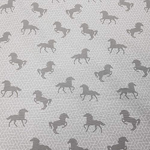 Stoff Meterware Baumwolle grau Pferd Pferde weiß Grafik Kinderstoff Dekostoff Meterpreis