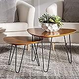Walker Edison Mid Century Modern Hairpin Coffee Table Set Living Room, Nesting,...