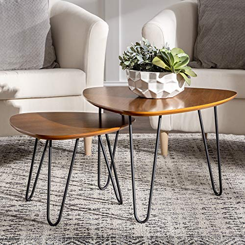 Walker Edison Mid Century Modern Hairpin Coffee Table Set Living Room, Nesting, Walnut