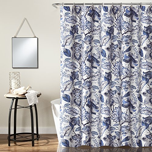 Floral Navy Shower Curtain