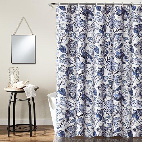Lush Decor, Blue Cynthia Jacobean Shower Curtain-Fabric Floral Print Design,72 x 72