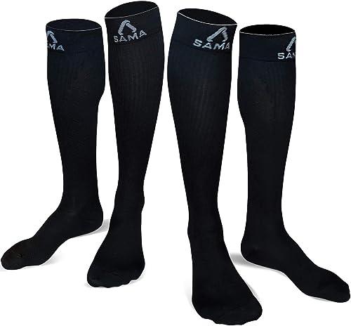 Chaussettes de Contention de Classe 2, 2 Paires de Chaussettes Homme ou Chaussettes Femme Type Bas de Contention pour...