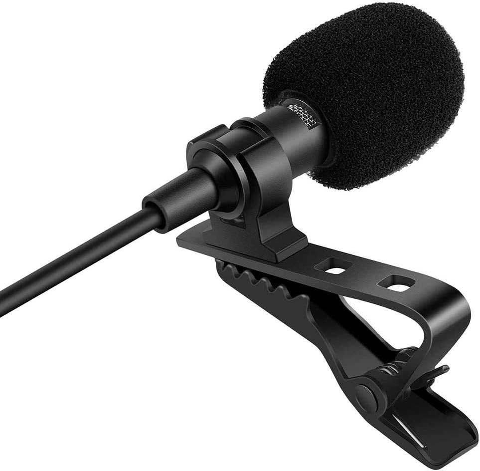 FAPO Mini Clip-on Lapel Lavalier Condenser Microphone with 3.5mm Headphone Output Jack, Omnidirectional Condenser Mic Compatible with iPhone and Android Smartphones