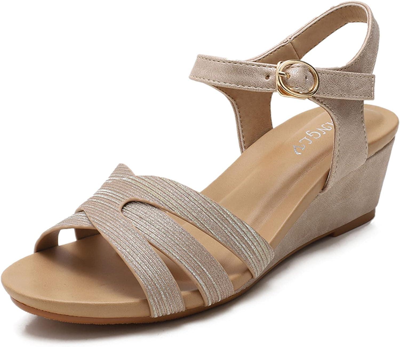 VOMIRA Women's Wedge Sandals Cutout Elastic Band Rhinestone Behemia Open Toe Sandals Casual Mid Heeled Beach Pumps