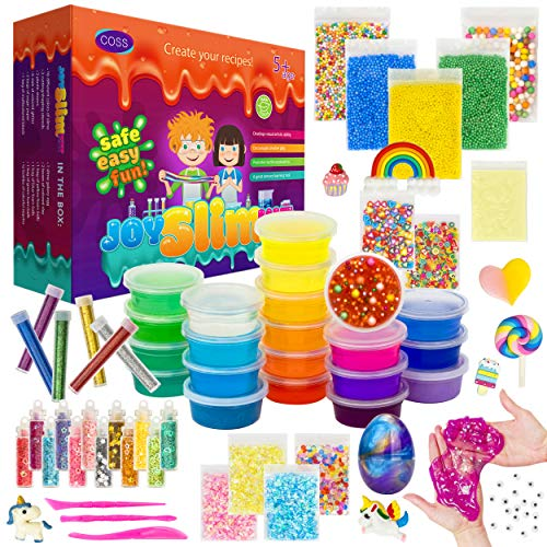 DIY Slime Kit for Girls Boys Aged 5-12 Glow in the Dark Slime Making Kit for Girls' Parties, 18 colors Unicorn Slime Kit for Girls with Beads, Sequins, Hearts and More, Gift Slime Kits for Girls Boys