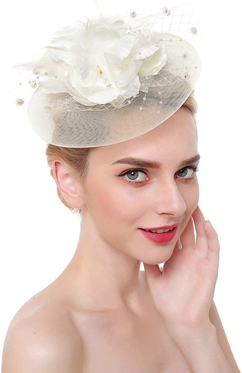 MELLOW SHOP Fashion Flower Feather Fascinator on Headband Hair Clips Cocktail Mesh for Women