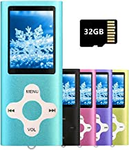 $20 » MP3 Player MP4 Player with a 32GB Micro SD Card, Runying Portable Music Player Support up to 64GB, Blue