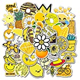 Hrayipt Vsco Stickers for Water Bottle Waterproof Aesthetic Trendy Vinyl Cute Yellow Stickers Perfect for Laptop Phone Luggage Car (50-Pack)