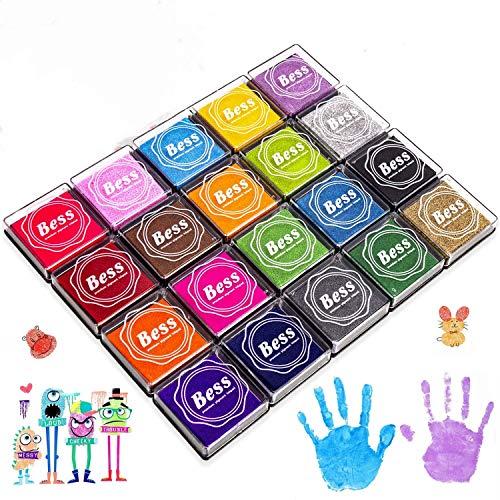 Sellos para Niños, Wokkol Tintas Arbol Huellas Tinta para Sellos Arco Iris Color de Huellas Dactilares Almohadilla de Tinta Para Sellos de Goma Socio Tarjetas y Niños DIY Scrapbooking (20 Colores)