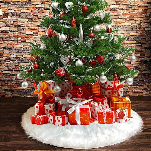 N /A Henrey Tech - Faldas para árbol De Navidad Color Blanco De Piel Sintética, 78 cm para Navidad Fiestas Vacaciones o Decoración del Hogar