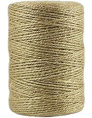 EDGEAM 200 m natuurlijk jute touw decoratief koord voor het ophangen van label, wenskaart, geschenken, doe-het-zelf knutselen, tuin