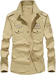 Men's Lapel Cotton Casual Workwear Long Sleeve Shirt Military Cargo Slim Blouse