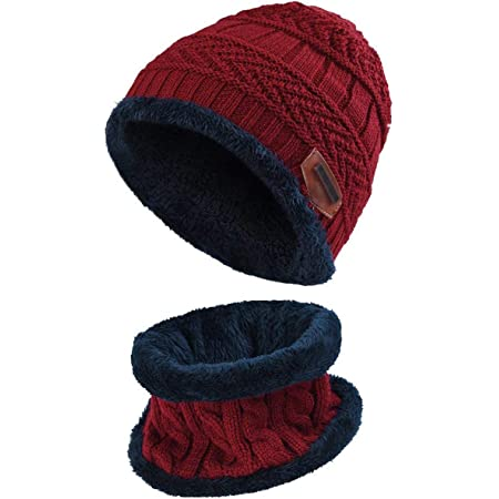2-8 Years CheChury Kids Winter Knit Hats Scarf Gloves Set Girls Knitted Beanie Hat Circle Scarf Snood Warm Skull Cap with Fleece Outdoor Gift for Child